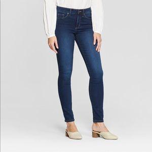 Women's high rise skinny blue jeans